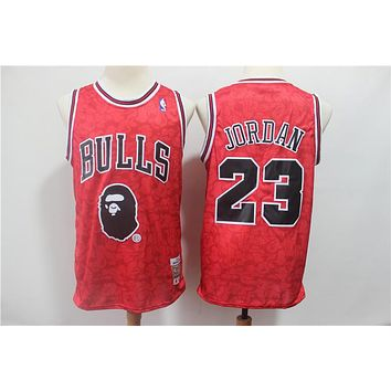 49347e73bbd Bape x NBA Chicago Bulls 23 Michael Jordan Mitchell & Ness Red Hardwood  Classics Jerseys -