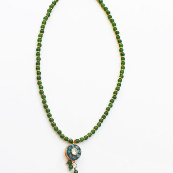 Green Jade Choker, Pendant Necklace, Green Jade Necklace, Lariat Style Necklace, Green Gem Beads, Gold Spacer Beads