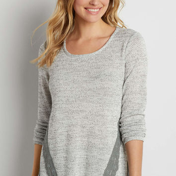 lightweight pullover tunic sweater with lace overlay | maurices