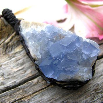 Blue Fluorite, Fluorite Crystal Necklace , Crystal point necklace, Healing crystal necklaces, Flow, energy, eco chic, emotion, pendant
