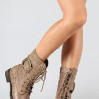 Marina Buckle Military Lace Up Mid Calf Boot