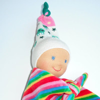 lovey minky blanket doll -knot doll -Waldorf first doll -baby gift - teething doll- homemade