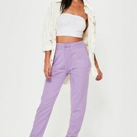 Missguided - Purple Tie Waist Joggers