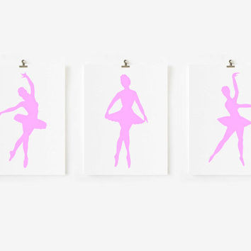 3 Dancing Ballerina's - Children Decor, Kids Wall Art