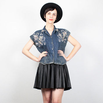 Vintage 80s Denim Shirt 1980s New Wave Blue Jean Acid Wash Denim Chambray Top Sequin Beaded Top Cap Sleeve Silver Studded Shirt S Small M