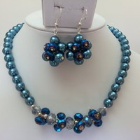 Blue Pearl and Swarovski Crystal Necklace and Matching Earrings - Glass Pearl, Bead Cluster, Hand Wired, Matching Set
