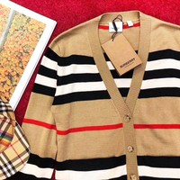 Burberry New fashion stripe couple long sleeve coat cardigan Khaki