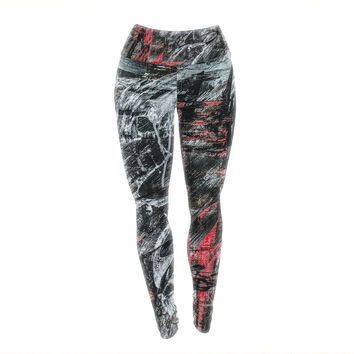 """Bruce Stanfield """"Areus"""" Red Abstract Yoga Leggings"""