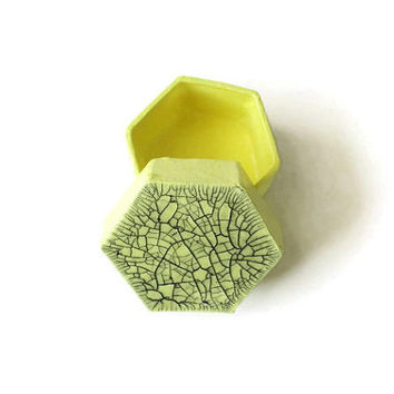 Tiny Gift Box painted pale lemon yellow with black accents crackle lid, hexagonal box, decorative box