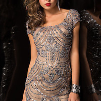Short Sequin Scoop Neck Scala Dress