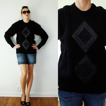 Vintage 1980s MOD Black Knit Sweater with LEATHER Diamond Design UNISEX