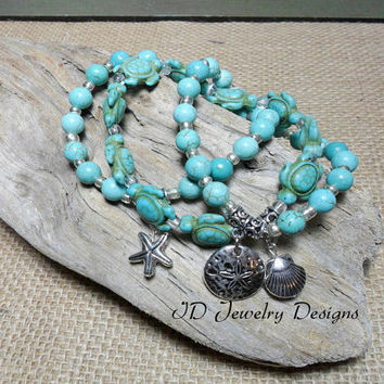 Stackable Boho Turquoise color Magnesite Stone Bracelet, Sea Life Charm Bracelet, Set Starfish Shell Sand Dollar Charm Jewelry