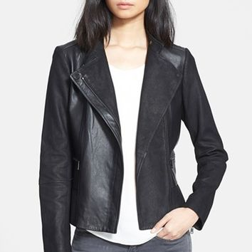 Women's Vince Texture Block Leather Moto Jacket,