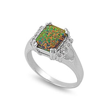 925 Sterling Silver CZ Square Lab Black Opal Ring 10MM