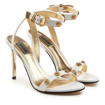 Embellished Leather Sandals - Versace | WOMEN | KR STYLEBOP.COM
