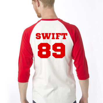 Swift '89 3/4 Baseball T Shirt Red/White or Black/White