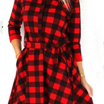 Streetstyle  Casual Red Plaid Sashes Pleated V-neck Long Sleeve Mini Dress