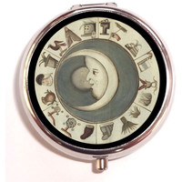 Moon History Celestial Pill Box Pillbox Case Trinket Box Vitamin Holder