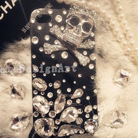 iphone 4s case, handmade bling bling iphone 4 cases iphone cover skin iphone 5 cases - crystal skull iphone 4 case