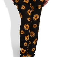 Plus Size Knit Jogger Harem Pant with Daisy Print
