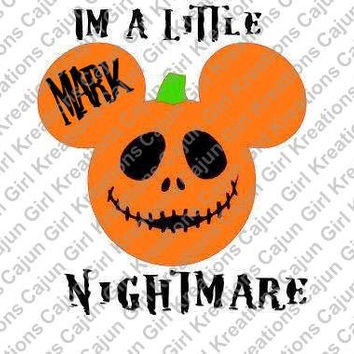 Jack Skellington Nightmare Personalized with Name/Date Mickey Mouse Head Disney Printable Digital Iron On Transfer Clip Art DIY Tshirts