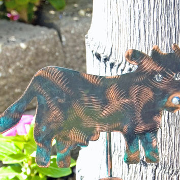 Cow  / Gift / Garden Plant Stake / Copper Garden Art / Metal Garden Art / Farm Animal / Barnyard / Outdoor  / Cow Decor / Sculpture