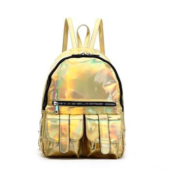 Gold Hologram Dual Pocket Backpack with Rainbow Zipper Back To School