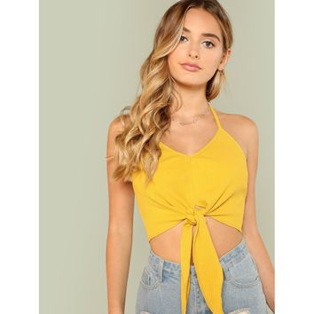 Ginger Knot Front Rib Knit Halter Crop Top