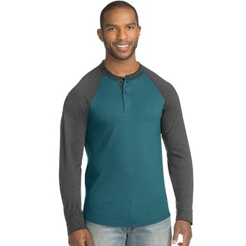 Hanes Men's FreshIQ X-Temp Colorblock Long-Sleeve Raglan Henley Tee Style: 5A60-Jeweled Jade/Slate Harmony S