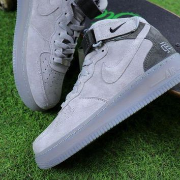 DCCKU62 Sale Reigning Champ Nike Air Force 1 Mid Grey Suede Sport Shoes Sneaker