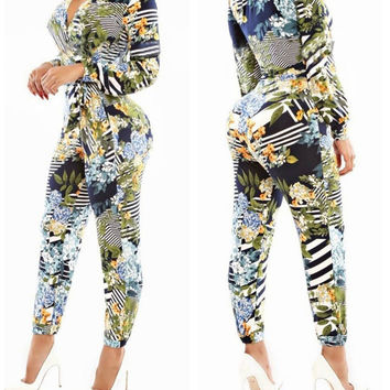 Printed V-neck Long Sleeve Bodycon Jumpsuit