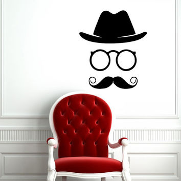 Hipster Glasses Hats Mustaches Vinyl Decal Art Housewares Wall Sticker Design Murals Modern Interior Decor Removable Room Window SV5162