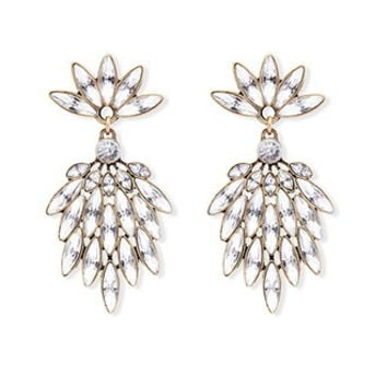 Clustered Rhinestone Drop Earrings