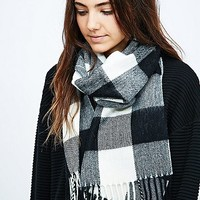 Buffalo Check Scarf in Black and White - Urban Outfitters