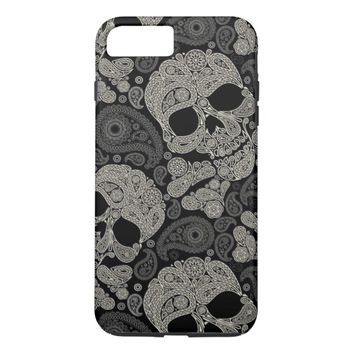 Sugar Skull Crossbones Pattern iPhone 7 Plus Case