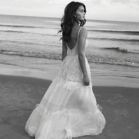 Summer Beach Bohemian Hippie Bridal Wedding Dress Custom Size 0 2 4 6 8 10 12