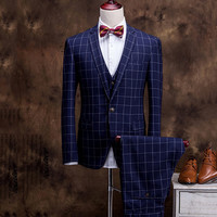 Men's Slim Fit Checkered Three Pieces Suit Set
