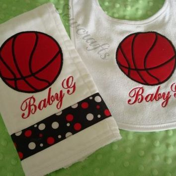 Baby G Personalized Bib and Burp Cloth - Name - Premium Quality 6-ply Burp Cloths
