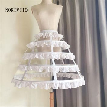4 Hoops Petticoat Openwork Fish Bone Skirt Cosplay Lolita Underskirt Gothic New Women Tutu Black White Skirts P20