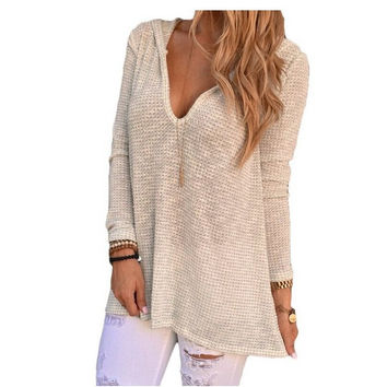 Hollow Out T Shirt Women Baggy Fit V Neck Hooded Knitwear Pullover Sexy Womens Tops T-shirt Tee Shirt Femme Camisetas Mujer 10