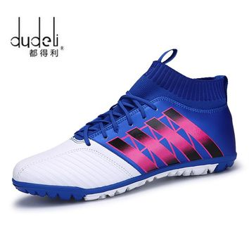 DUDELI Men's Soccer Shoes TF Futsal Hard Court Turf Football Boots Indoor Sock Cleats Trainer Cheap Botas Chuteira Futsal Shoes