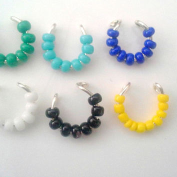 White Beaded Septum Nose cuff custom colours-piercing imitation- faux nose ring- For Him/ For Her