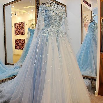 2016 Saudi Arabia Pearls Floral Bridal Dresses Luxury Lebanon Dubal Wedding Dress 2016 Beaded With Long Jacket Cathedral Train
