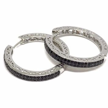 Love Circle Cz Silver Plated Hoops Earrings
