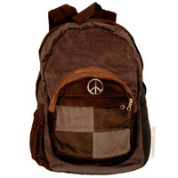 Patchwork Corduroy Peace  Backpack on Sale for $44.95 at The Hippie Shop
