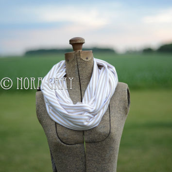 Adult Tan & White Striped Infinity Scarf - Knit Scarf -Complete Finished Tube Loop, No Raw Edges