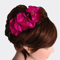 Vintage Style Fuchsia Hair Fascinator Comb Charm by mammamiaeme