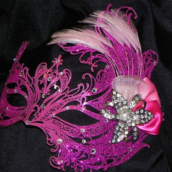 Metal Mask in Shades of Pink with Feather Accents