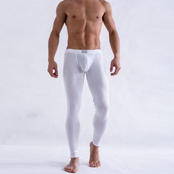 Cheap&High Quality Men's Solid Color Underpants Long Johns Pants Thermal Low Rise Warm Underwear M L XL Good Quality