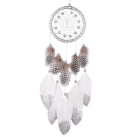 DIU# Indian Style Silver Bead Dream Catcher with Feather Core Bead Dreamcatcher for Wall Car Decoration Dreamcatcher Decor